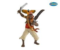 Lekefigur   Pirat med sabel og papegøye