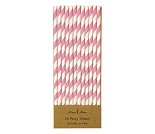 Sugerør i papir rosa, 24 stk.