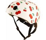 Hvit sykkelhjelm, kirsebær (53-58 cm) - Kiddimoto