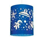 Lampe, blå med verdensrom-motiv