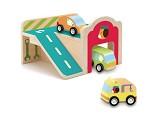 Garasje i treverk med biler - Djeco