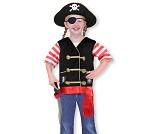 Pirat, 3-6 år, kostyme