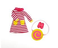 Rød og hvit kjole, dukkeklær - Lottie