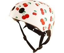 Hvit sykkelhjelm, kirsebær (48-53 cm) - Kiddimoto