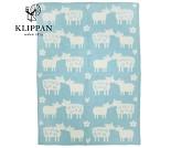 Bææ babyteppe i ull fra Klippan, blått og hvitt