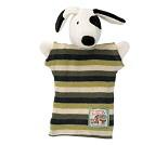 Hånddukke, hunden Julius med stripete genser