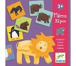 Memospill med fargeglade dyr
