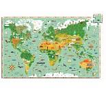 Puslespill med verdenskart fra Djeco, 200 brikker