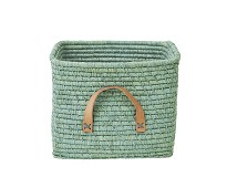 Mintgrønn oppbevaringskurv med lærhåndtak - Rice