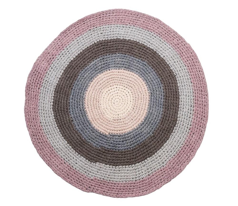 Gulvteppe fra Sebra, heklet rundt teppe, rosa/ gr? ...