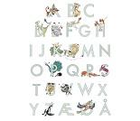 Plakat med det norske alfabet og dyr, 50x70 cm