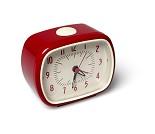 Vekkeklokke i retrodesign, rød