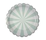 Turkis/hvit, papptallerkener 8stk - Meri Meri