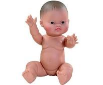 Dukke, asiatisk jentebaby, 34 cm