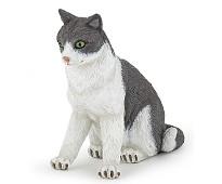 Grå og hvit katt miniatyrfigur - Papo