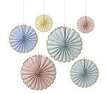 Papirmøller i pastellfarger, 6 stk