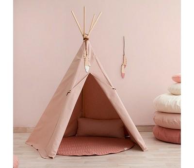 Rundt teppe lekematte i stoff dolce vita pink