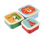 3 små matbokser med ville dyr