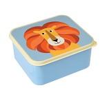 Blå matboks med løve på lokket