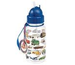 Drikkeflaske med biler, blått lokk med sugerør