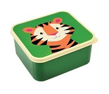 Grønn matboks med tiger på lokket