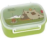 Matboks i plast med fruktrom, grønn med bjørn