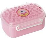 Matboks i plast med fruktrom - rosa med fugl