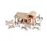 Stall i kartong med 4 figurer - PAPO