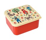 Rød matboks med rødhette og ulven på lokket