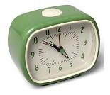 Vekkeklokke i retrodesign, grønn