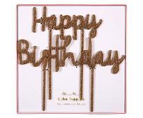 Happy Birthday kakepynt med glitter - Meri Meri