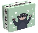 Brillebjørn, grønn koffertmatboks i metall