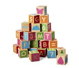 Byggeklosser med bokstaver, tall og figurer