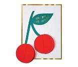 Kirsebær, pom pom - kort fra Meri Meri
