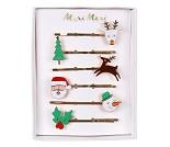 Hårspenner, julenisse, 6 stk - Meri Meri