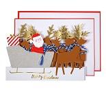 Julenissens slede, papirrad - kort fra Meri Meri