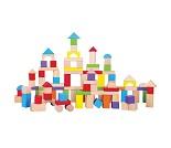 Fargerike byggeklosser i tre, 100 stk