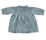 Blå strikket kjole, dukkeklær 35 cm - By Astrup
