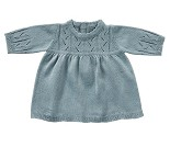 Blå strikket kjole, dukkeklær 45 cm - By Astrup