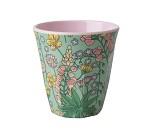 Grønn kopp i melamin med blomster, 9 cm - Rice
