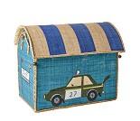 Blått kurvhus med bil, oppbevaring - Rice
