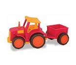 Traktor med henger, stor lekebil i plast