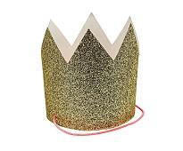 Gullfargde kroner med glitter, 8 stk - Meri Meri