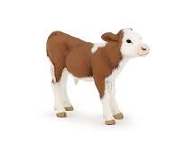 Brun og hvit kalv miniatyrfigur - Papo
