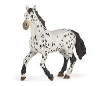 Hvit og sort Appaloosa hest miniatyrfigur - Papo