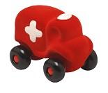 Rød ambulanse i naturgummi, 11 cm fra Rubbabu