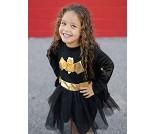 Batgirlkjole og kappe, 5-6 år, kostyme