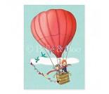 Luftballong, postkort