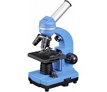 Blått mikroskop med lys og tilbehør