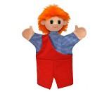 Hånddukke, gutt med rødt hår